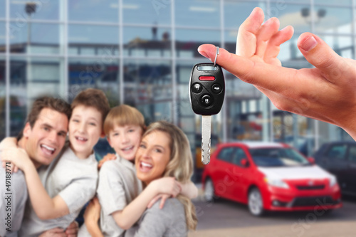 Happy family with a new car keys.