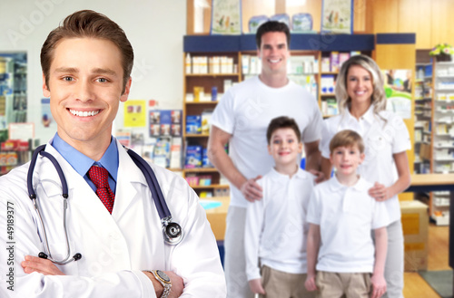 Pharmacist with a family.