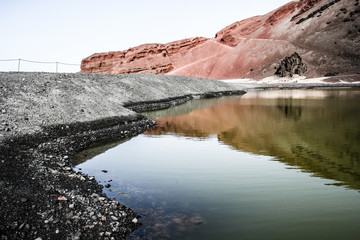 Green Lagoon, El Golfo, Lanzarote, Canary Islands, Spain.