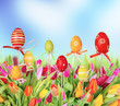 Easter tulips with colored eggs