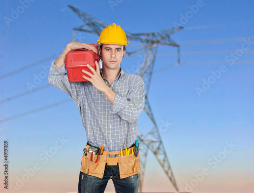 Electrician with his tool box