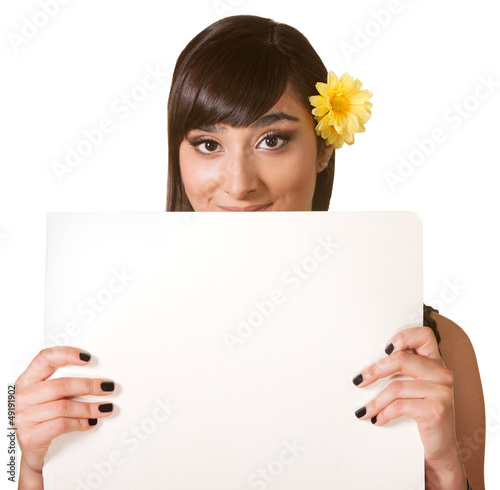 Cute Female Holding Poster