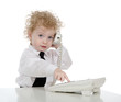 young businessman on the phone in office. isolated