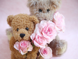 generic, well-used toys with miniature pink roses