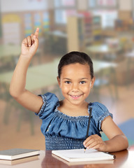 Latin little girl asking to speak
