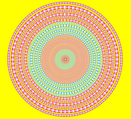 brightly circle on yellow