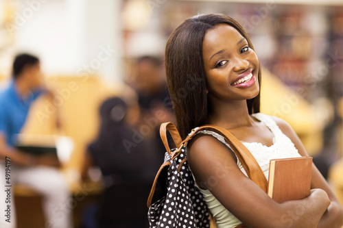 beautiful female african american university student portrait - 49194197