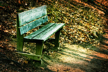 Rustic, weathered wooden bench