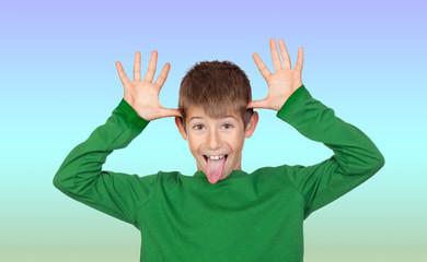 Funny child mocking
