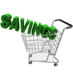 Savings - Word in Shopping Cart
