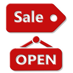 Sale and Open sign