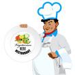 Chef with menu for vegetarian. Menu cafe