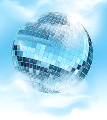 vector background with a mirrored disco ball reflecting blue sky