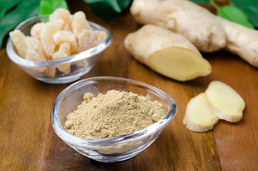 three kinds of ginger - ground, fresh and candied