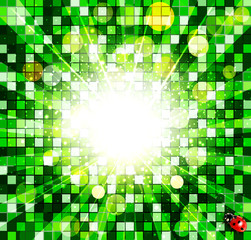 vector abstract background with green cubes and ladybug
