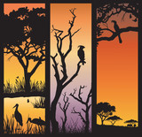 Three panels of African silhouettes with African wild animals