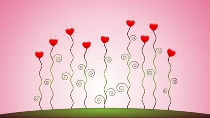Herzblumen wachsen vor rosafarbenem Himmel – Animationsfilm