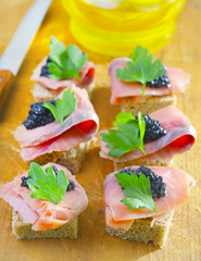 canape with fish and caviar