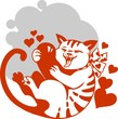 Cat and heart - vector illustration.