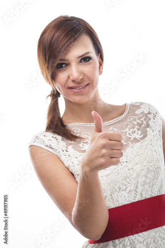Young Caucasian woman showing thumb up