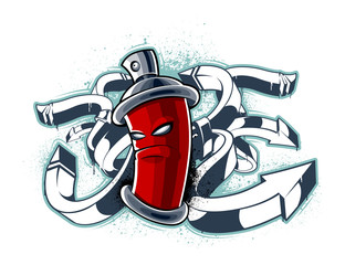 Graffiti image of can with arrows
