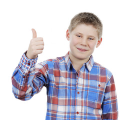 little boy with thumb up