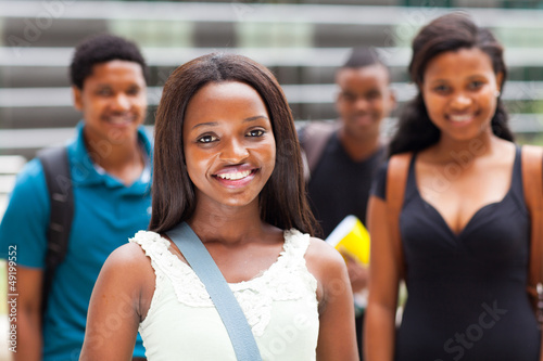 group of african college students on modern campus