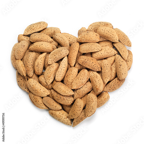 Almonds heart. Health concept.