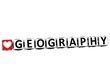 3D I Love Study Geography Button Block text on white background