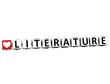 3D I Love Study Literature Button Block text on white background