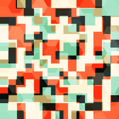 abstract orange squares seamless pattern
