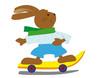 Hase mit Skateboard