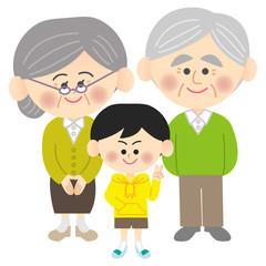 老夫婦と孫