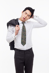 A tired Asian business man