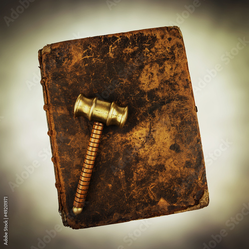 gavel on old book