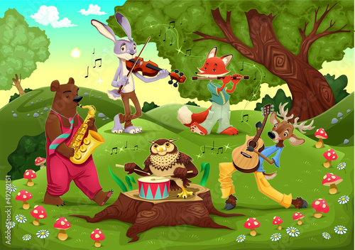 Wall mural Musicians animals in the wood.