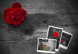 Red rose on a rustic wooden background