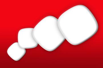 Viñetas blancas sobre fondo rojo