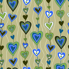 cartoon hearts seamless pattern
