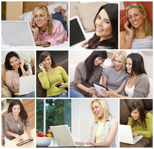Women Using Laptop Tablet Computers Cell Phones Montage