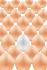 white egg between yellow eggs