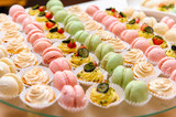 Tray with delicious cakes and macaroon - 49203568