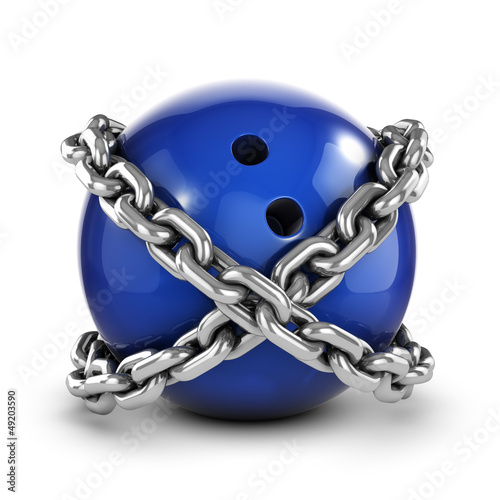 Chained bowling ball