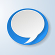Abstract speech bubble on light blue background