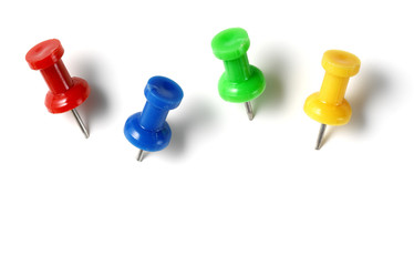 color drawing pins isolated