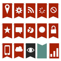 red navigation flags and icons