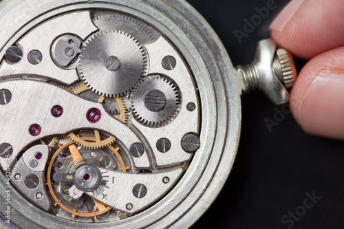 Winding up old clock mechanism
