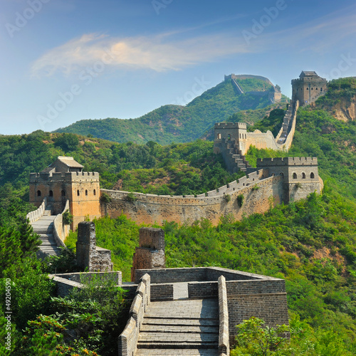 Poster Beijing Great Wall of China in Summer with beautiful sky