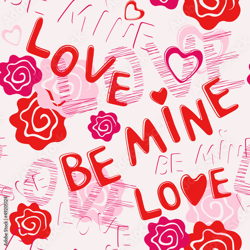 Seamless pattern: BE MINE LOVE
