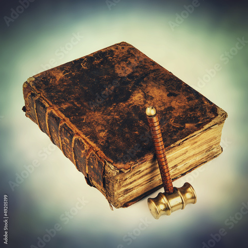 justice book and hammer